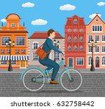 city style businessman with bag ... | Shutterstock .eps vector #632758442