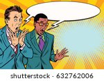 two businessmen shocked  multi... | Shutterstock .eps vector #632762006