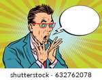 businessman with glasses scared ... | Shutterstock .eps vector #632762078