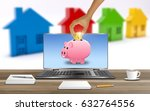 saving to buy a house. male... | Shutterstock . vector #632764556