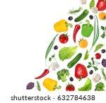 flying vegetables isoleted on... | Shutterstock . vector #632784638