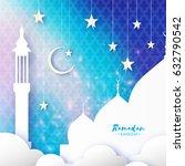 blue ramadan kareemgreeting... | Shutterstock .eps vector #632790542