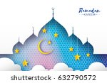 blue ramadan kareem greeting... | Shutterstock .eps vector #632790572