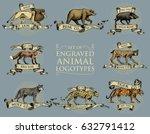 big set of vintage emblems ... | Shutterstock .eps vector #632791412