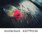 old roses on old wooden floor | Shutterstock . vector #632794136