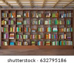 wooden shelves in the room with ... | Shutterstock . vector #632795186
