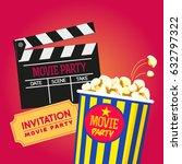 vector set cinema party popcorn ... | Shutterstock .eps vector #632797322