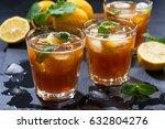 cool mint iced tea  closeup   Shutterstock . vector #632804276
