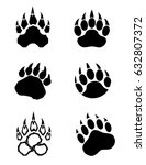 a collection of vector bear paws | Shutterstock .eps vector #632807372