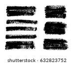 set of black paint  ink brush... | Shutterstock .eps vector #632823752
