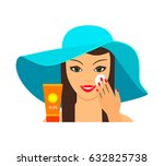 young beautiful woman puts on... | Shutterstock .eps vector #632825738