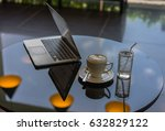 coffee cup and saucer and glass ... | Shutterstock . vector #632829122