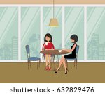 two girls in the cafe. there... | Shutterstock .eps vector #632829476