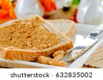 creamy peanut butter with toast | Shutterstock . vector #632835002