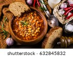 meat soup with beans and... | Shutterstock . vector #632845832