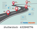 design template  road map... | Shutterstock .eps vector #632848796