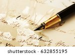 pen lying on the letter. | Shutterstock . vector #632855195