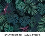 seamless hand drawn botanical... | Shutterstock .eps vector #632859896
