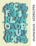 graffiti alphabet  font vector  ... | Shutterstock .eps vector #632861996