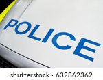 police sign on patrol car | Shutterstock . vector #632862362