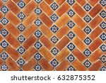 puebla red brick tiled mexican... | Shutterstock . vector #632875352