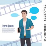 man video blogger with new... | Shutterstock .eps vector #632877482