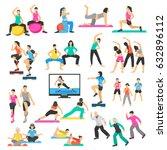 set of people doing yoga ... | Shutterstock .eps vector #632896112