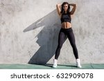 young beautiful strong lady... | Shutterstock . vector #632909078