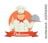 professional chef serving the... | Shutterstock .eps vector #632926502