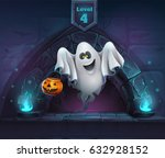 ghost with pumpkin in next... | Shutterstock .eps vector #632928152