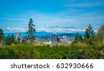 Stock photo city of portland from the rose garden 632930666