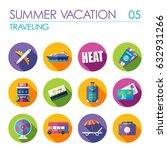 traveling vector flat icon set. ... | Shutterstock .eps vector #632931266