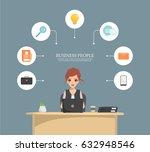 business woman multitasking... | Shutterstock .eps vector #632948546
