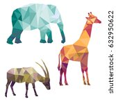 polygonal silhouettes of... | Shutterstock .eps vector #632950622