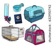 pet transport  travel set  ... | Shutterstock .eps vector #632950742