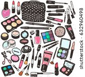 hand drawing colorful cosmetics ... | Shutterstock .eps vector #632960498