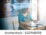 young female freelancer... | Shutterstock . vector #632968058