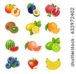 collection of fruits. vector... | Shutterstock .eps vector #632972402