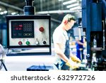 asian machine operator in... | Shutterstock . vector #632972726