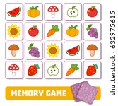 memory game for children  cards ... | Shutterstock .eps vector #632975615