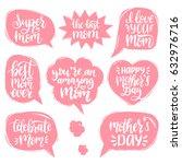 vector set of mother's day hand ... | Shutterstock .eps vector #632976716