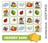 memory game for children  cards ... | Shutterstock .eps vector #632976932