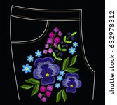 embroidery stitches for jeans ...   Shutterstock .eps vector #632978312