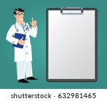 funny man doctor in white coat... | Shutterstock .eps vector #632981465