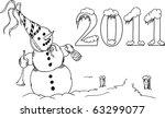 vector   snowman with trumpet... | Shutterstock .eps vector #63299077