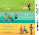 disabled people horizontal... | Shutterstock .eps vector #633001205