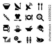 dish icons set. set of 16 dish... | Shutterstock .eps vector #633005822
