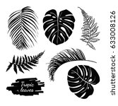 tropical leaves collection set. ... | Shutterstock .eps vector #633008126