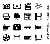 cinema icons set. set of 16... | Shutterstock .eps vector #633010832