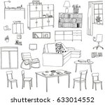 a set of hand drawn... | Shutterstock .eps vector #633014552